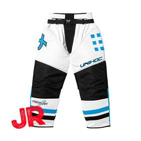 UNIHOC GOALIE PANTS FEATHER JR WHITE/BLUE 140 CL
