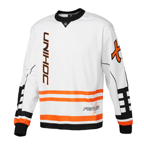 UNIHOC GOALIE SWEATER FEATHER WHITE/NEON ORANGE L