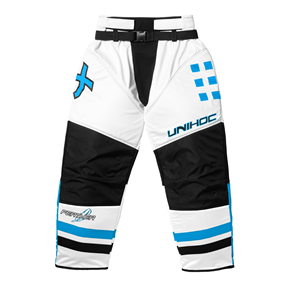UNIHOC GOALIE PANTS FEATHER WHITE/BLUE XXL