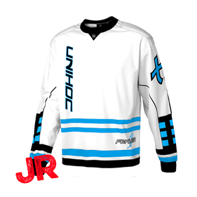 UNIHOC GOALIE SWEATER FEATHER JR WHITE/BLUE 140 CL
