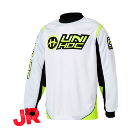 UNIHOC GOALIE SWEATER OPTIMA JR WHITE/NEON YELLOW 140 CL