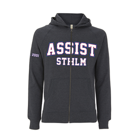 ASSIST STHLM ZIP HOOD SLIM MELANGE BLACK L