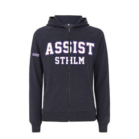 ASSIST STHLM ZIP HOOD SLIM MELANGE NAVY M