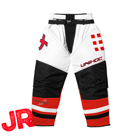 UNIHOC GOALIE PANTS FEATHER JR WHITE/NEON RED 140CL