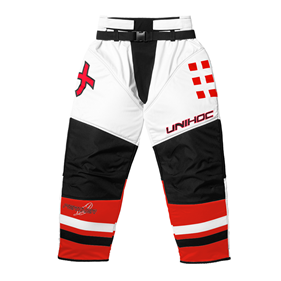 UNIHOC GOALIE PANTS FEATHER WHITE/NEON RED XXL
