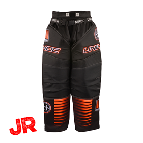 UNIHOC GOALIE PANTS INFERNO JR BLACK/NEON ORANGE 160 CL