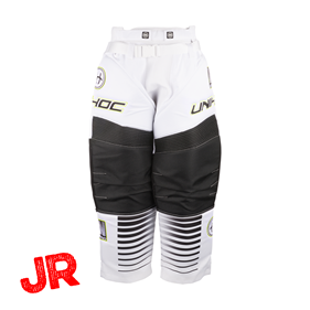 UNIHOC GOALIE PANTS INFERNO JR WHITE/BLACK 140 CL