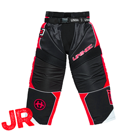 UNIHOC GOALIE PANTS OPTIMA JR BLACK/NEON RED 140CL