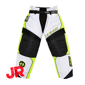 UNIHOC GOALIE PANTS OPTIMA JR WHITE/NEON YELLOW 140 CL