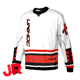UNIHOC GOALIE SWEATER FEATHER JR WHITE/NEON RED 140CL