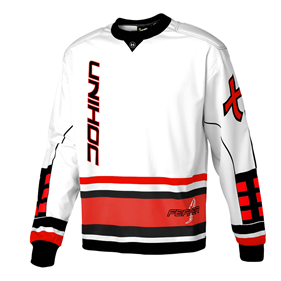 UNIHOC GOALIE SWEATER FEATHER WHITE/NEON RED L