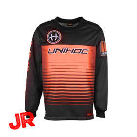 UNIHOC GOALIE SWEATER INFERNO JR BLACK/NEON ORANGE 140 CL