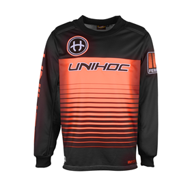 UNIHOC GOALIE SWEATER INFERNO BLACK/NEON ORANGE L