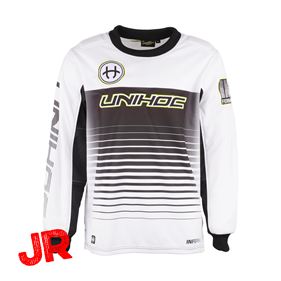UNIHOC GOALIE SWEATER INFERNO JR WHITE/BLACK 140 CL