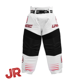 UNIHOC GOALIE PANTS INFERNO WHITE/NEON RED 140CL