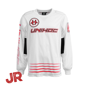 UNIHOC GOALIE SWEATER INFERNO WHITE/NEON RED JR 140 CL
