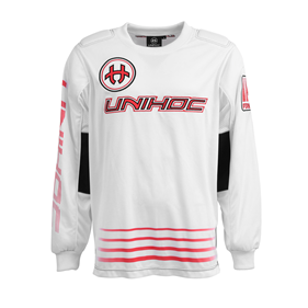 UNIHOC GOALIE SWEATER INFERNO WHITE/NEON RED L